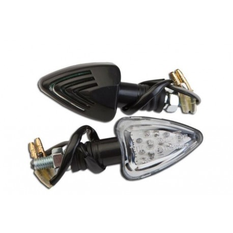 Coppia frecce omologate PEAK NERE con led - A pair of indicators approved PEAK BLACK with LEDs
