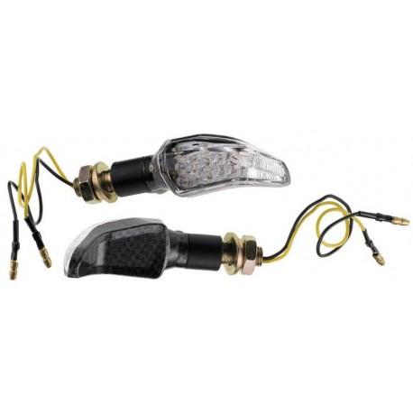 Coppia frecce omologate MOUSTACHE CARBON  con led - A pair of indicators approved MOUSTACHE CARBON with LEDs