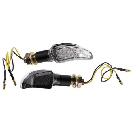 Coppia frecce omologate MOUSTACHE CARBON  con led - A pair of indicators approved MOUSTACHE CARBON with LEDs
